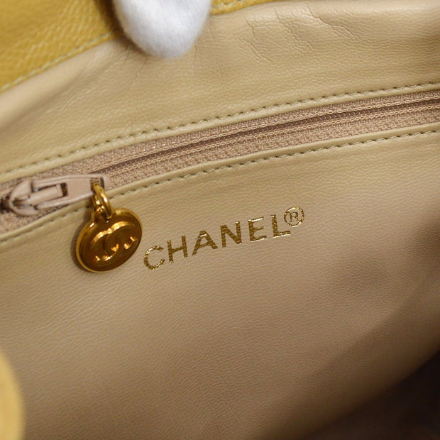 CHANEL CC Chain Backpack Bag Beige Caviar Skin