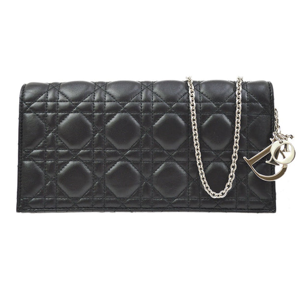 Christian Dior Lady Dior Cannage Chain Shoulder Bag Black