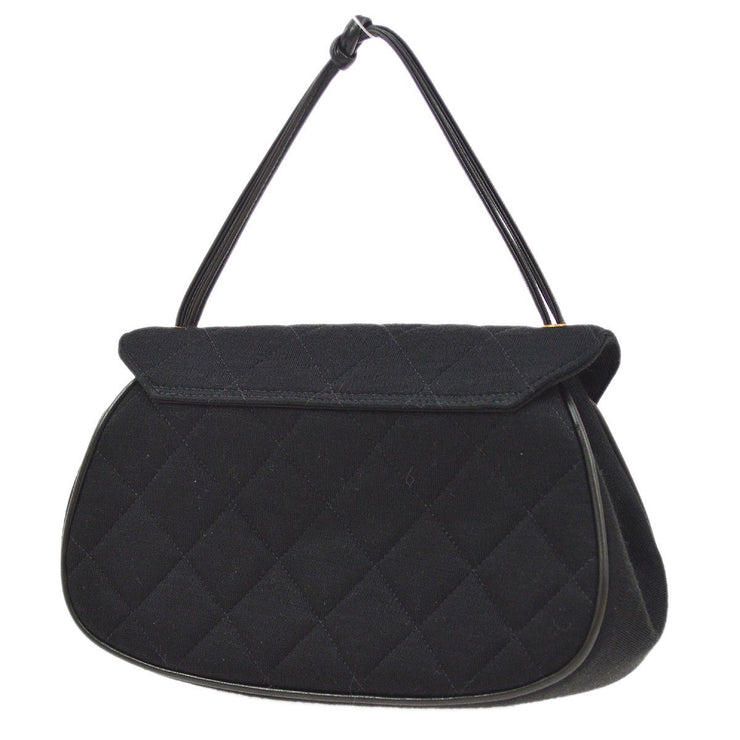 CHANEL Quilted 2.55 Line CC Hand Bag Black Cotton