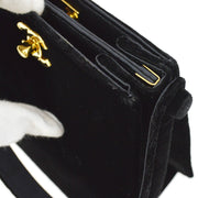 CHANEL CC Both Side Turn lock Hand Bag Black Velvet Satin