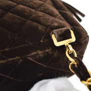 CHANEL Quilted CC Chain Backpack Bag Dark Brown Velvet