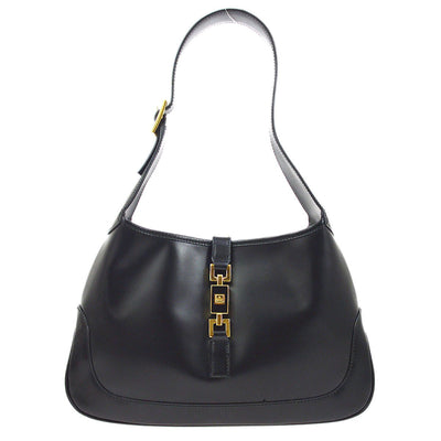 GUCCI Logos Jackie Hand Bag Purse Black