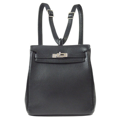 HERMES KELLY ADO PM Backpack Bag Black Veau Crispe Togo