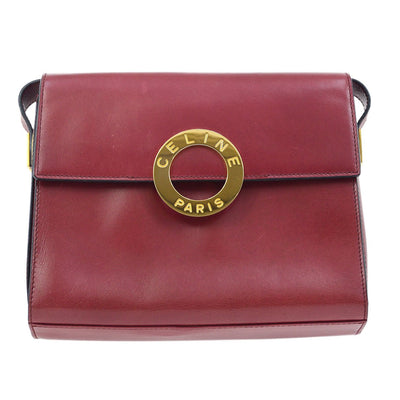CELINE Ring Cross Body Shoulder Bag Bordeaux