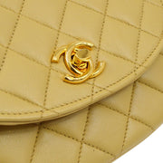 CHANEL Quilted CC Single Chain Shoulder Bag Beige