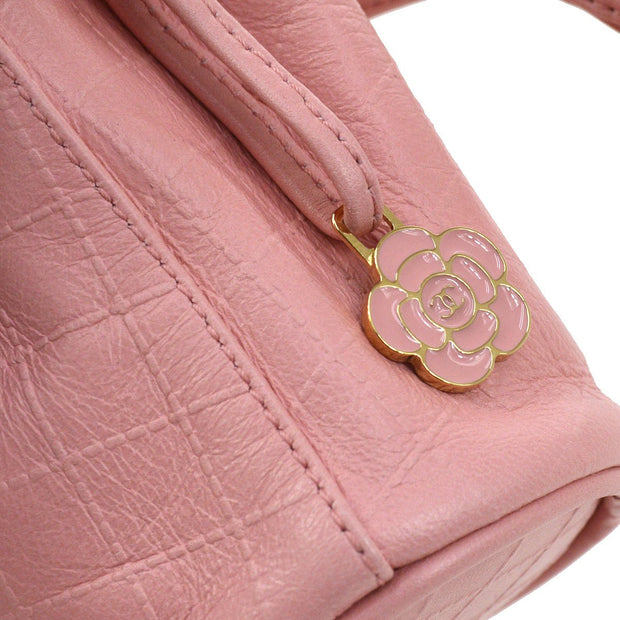 CHANEL CC Logos Quilted Drawstring Mini Pouch Bag Pink
