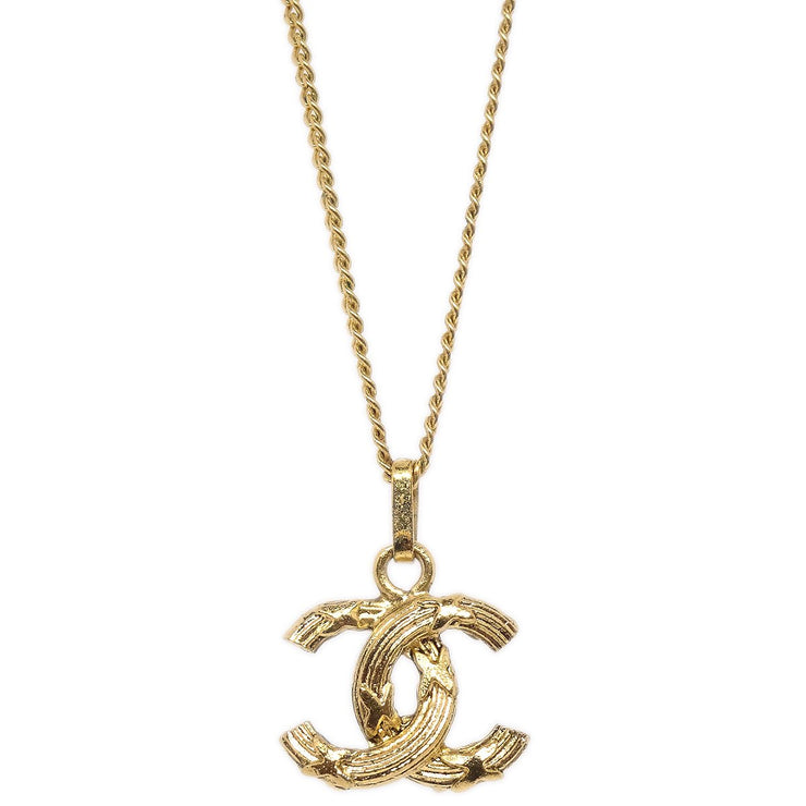 CHANEL CC Logos Charm Gold Chain Pendant Necklace
