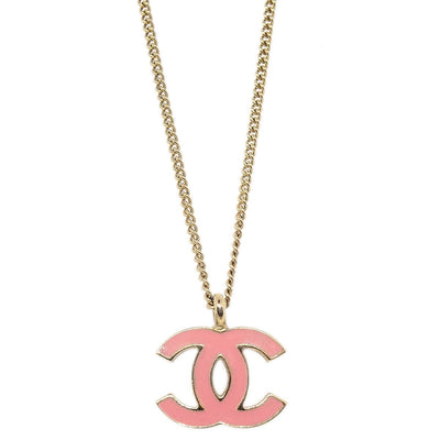 CHANEL CC Logos Charm Gold Chain Pendant Necklace 01A