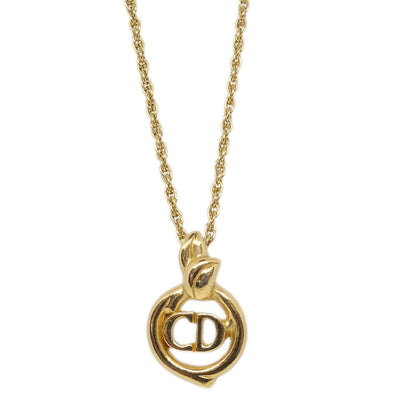 Christian Dior CD Logos Charm Gold Chain Pendant Necklace