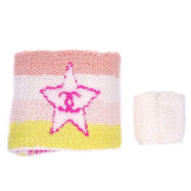 CHANEL CC Logos Wristband Bracelet Finger Band Set White Pink