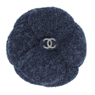 CHANEL CC Logos Brooch Pin Camellia Flower Corsage Gray