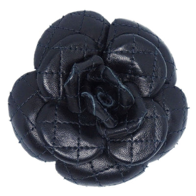 CHANEL CC Logos Brooch Pin Camellia Flower Corsage Black