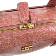 CHANEL CC Logos Hand Bag Pink Crocodile