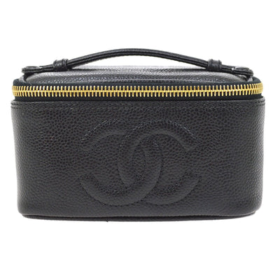 CHANEL CC Cosmetic Vanity Hand Bag Black Caviar Skin