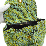 CHANEL Duma Chain Backpack Bag Green Tweed