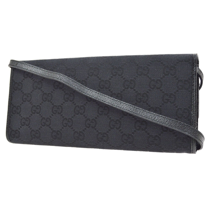 GUCCI Bamboo GG Cross Body Shoulder Bag Black