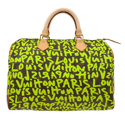 LOUIS VUITTON SPEEDY 30 HAND BAG GREEN GRAFFITI M93706