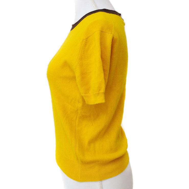 CHANEL #40 Round Neck Short Sleeve Knit Tops Mustard