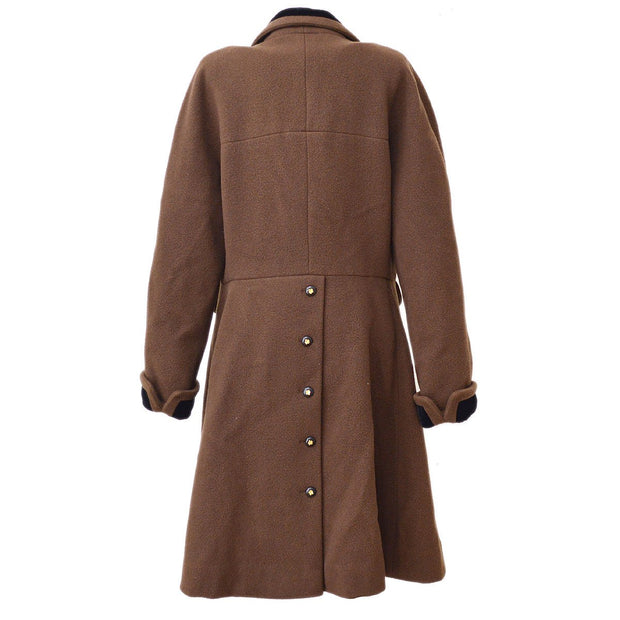 CHANEL #36 Clover Button Long Sleeve Coat Jacket Brown