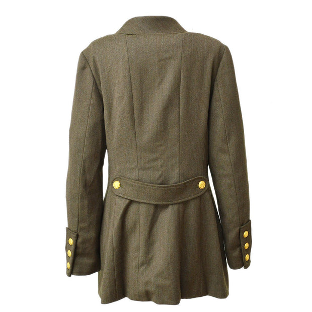 CHANEL #42 CC Button Double Breasted Long Sleeve Jacket Brown