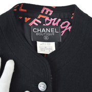 CHANEL #42 Collarless Long Sleeve Set Up Suit Jacket Skirt Black 96P