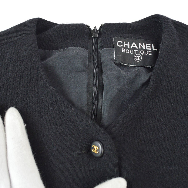 CHANEL Back Zipper CC Button Sleeveless One Piece Dress Black