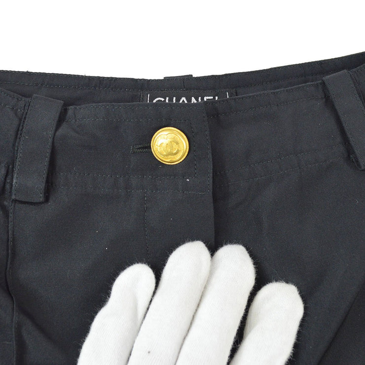CHANEL #40 CC Logos Button Long Pants Bottoms Black