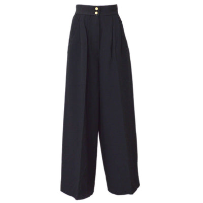 CHANEL #34 CC Logos Long Wide Pants Black