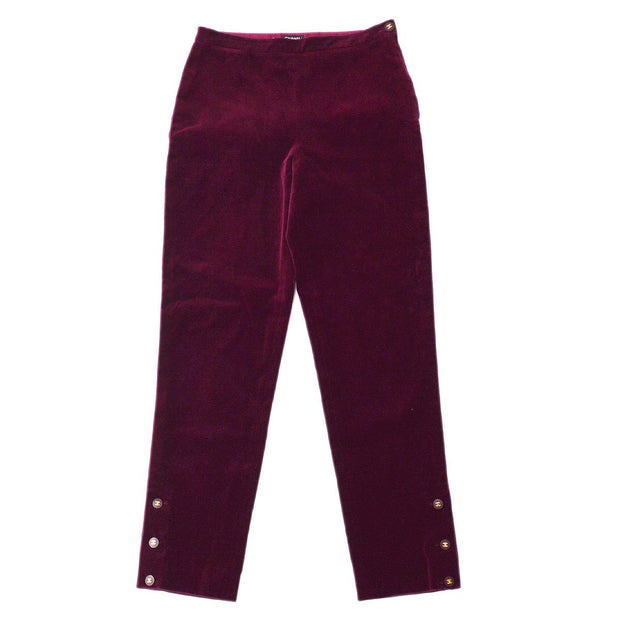 CHANEL #40 CC Logos Button Long Straight Pants Bottoms Bordeaux