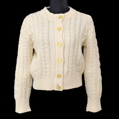 CHANEL #38 Imitation Pearl Long Sleeves Knit Tops Cardigan Ivory