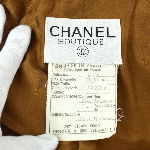 CHANEL #36 Single Breasted Long Sleeve Coat Jacket Brown