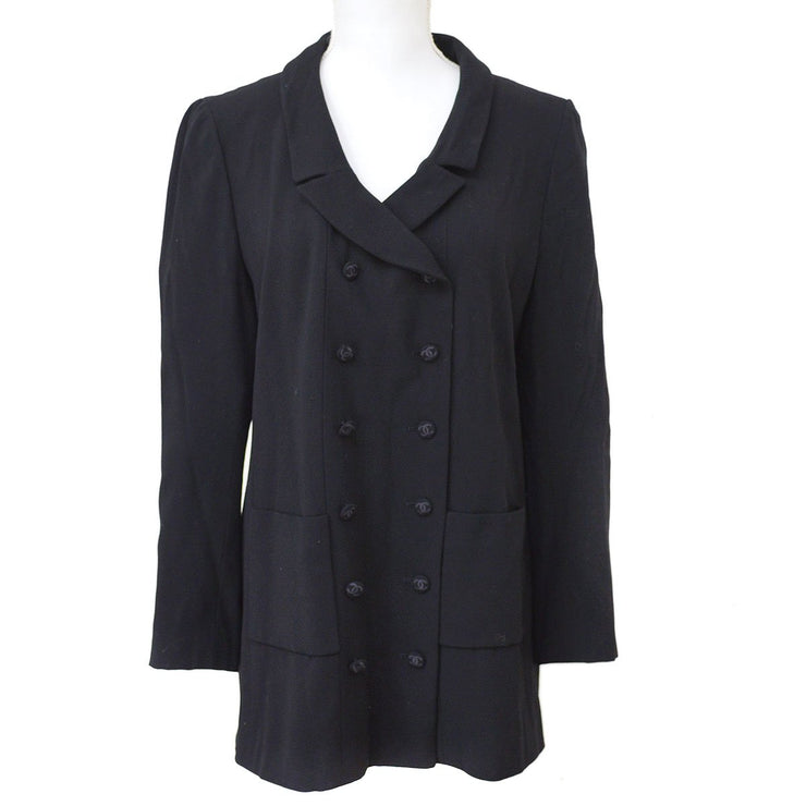CHANEL #42 Double Breasted Long Sleeve Jacket Black