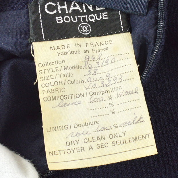 CHANEL #38 CC Button Single Breasted Set Up Suit Jacket Skirt Navy