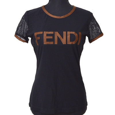 FENDI Round Neck Short Sleeve Mesh Tops Sweaters Black