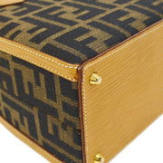 FENDI Zucca Pattern 2way Hand Bag Box Brown