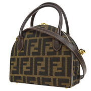 FENDI Zucca Pattern 2way Hand Bag Box Purse Brown