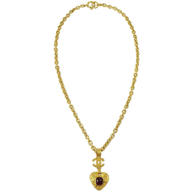 CHANEL Stone Gold Chain Pendant Necklace
