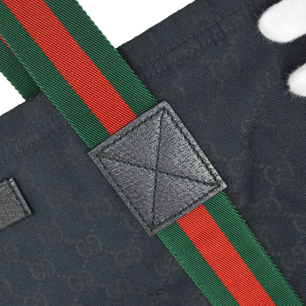 GUCCI GG Shelly Line Hand Tote Bag Black