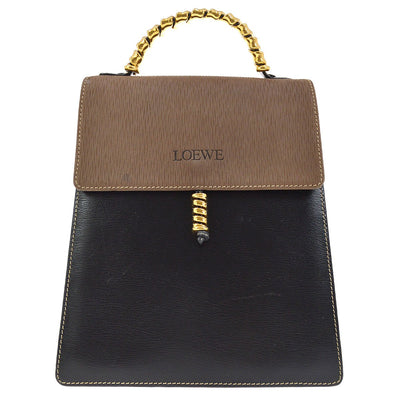 LOEWE VELAZQUEZ 2way Hand Tote Bag Black Brown Combi Leather