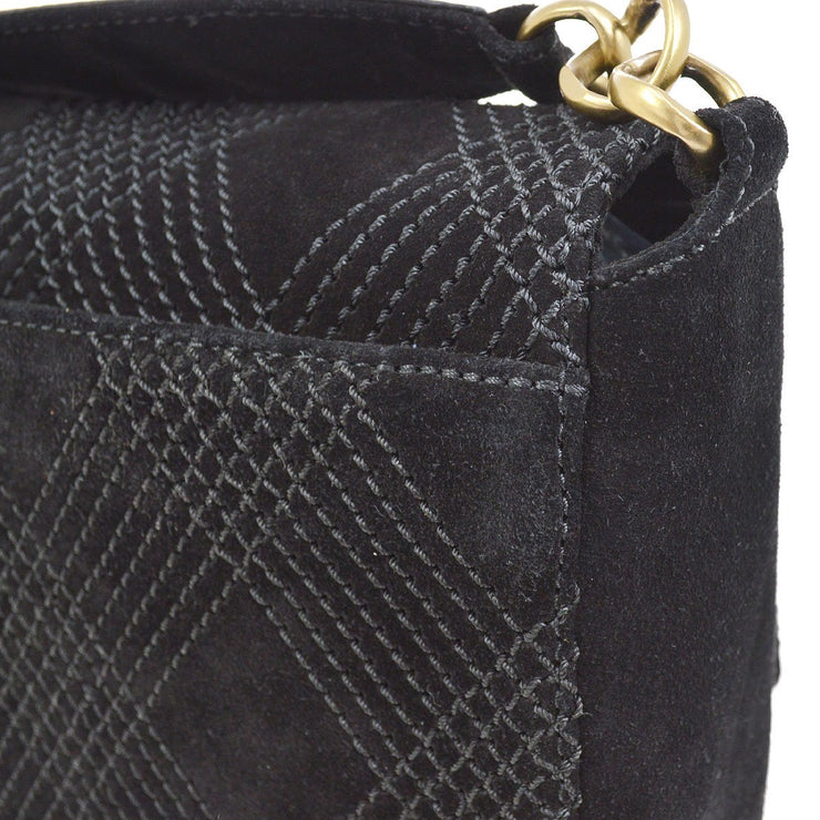 CHANEL Quilted CC Cross Body Chain Shoulder Bag Black Nubuck