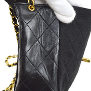CHANEL Quilted CC Single Chain Shoulder Bag Black Cotton