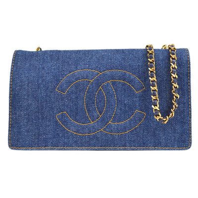 CHANEL Woc Chain Shoulder Wallet Bag Indigo Denim