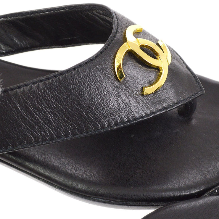 CHANEL CC Logos Shoes Sandals Black #35