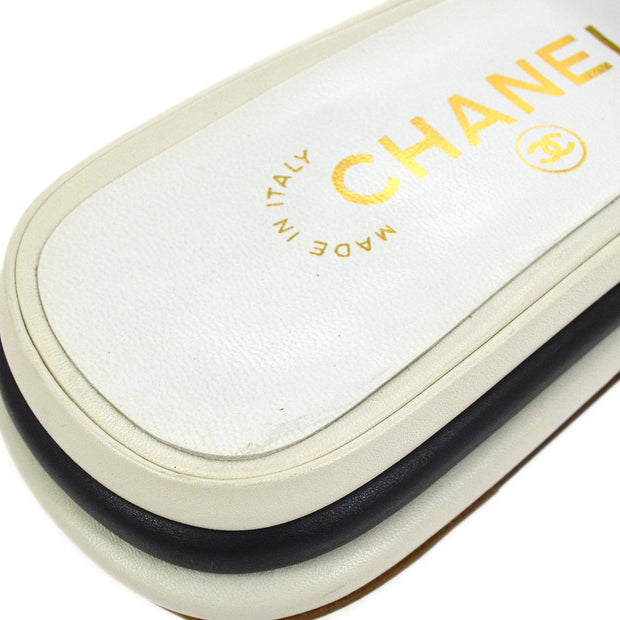 CHANEL CC Logos Shoes Sandals White #36