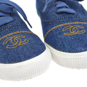 CHANEL CC Logos Shoes Sneakers Indigo Denim #38