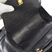 CHANEL Triple CC Chain Backpack Bag Black Caviar Skin
