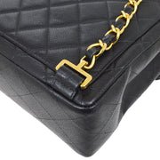 CHANEL Chain Backpack Bag Black Caviar Skin