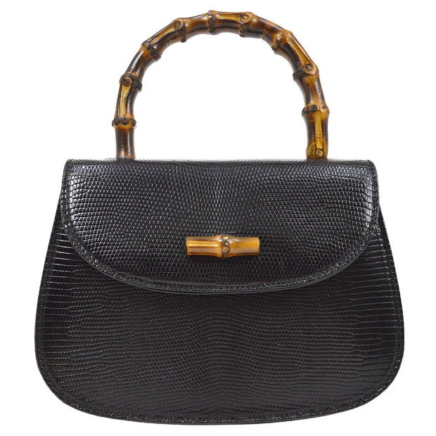 GUCCI Bamboo Line Chain 2way Mini Hand Bag Black Lizard