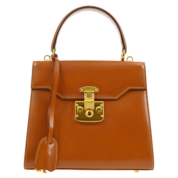 GUCCI Lady Lock 2way Hand Bag Brown