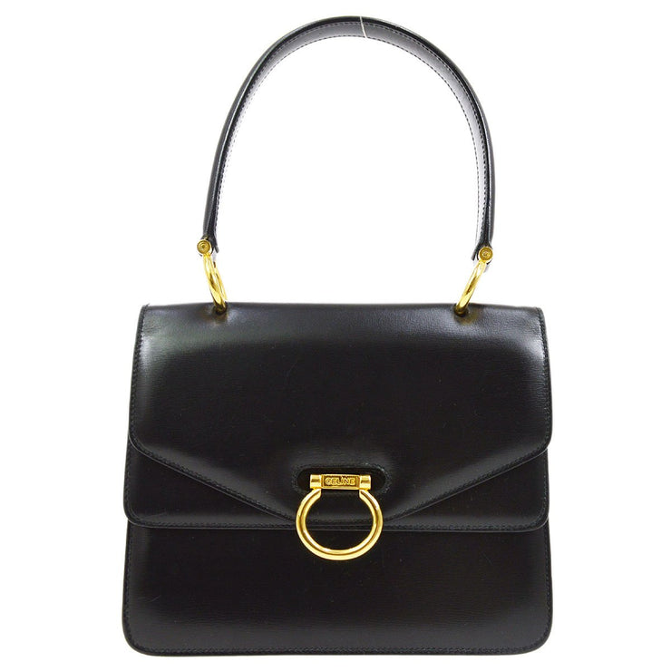 CELINE Double Flap Hand Bag Black